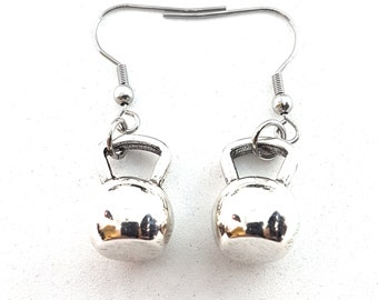 Kettlebell Earrings Workout Gift - Fit Girl - Fit Mom - Bodybuilding Earrings- Gym Gift -Gym Earrings -Cross fit Girl - Girl Power-Wod & Fit