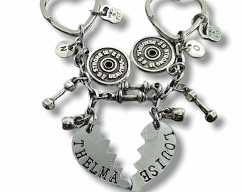 Couple Gym Keychain Thelma and Louise Strong Is Beautiful - Best friends gifts - Sisters gift - Best friends forever - Funny gift -Wod & Fit