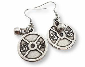 Gym Earrings Weight Plate 45lbs & Kettlebell -Fitness Earrings - Body Building Earrings - Gift for Gym Lovers - Crossfit Girls Earrings Gift