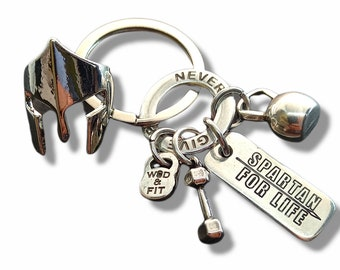 Keychain The 300 Spartans Workout gift - Motivation Gift - Spartan Helmet Gift - Warrior gift- Military Gift - Leonidas - Strong Gift