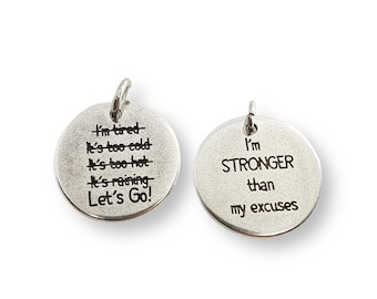 Motivational Tag Lets Go! I'm Stronger - Running - Gym Motivation - Runner Gift - Crossfit Motivation - Runner Motivation - No Excuses Gift