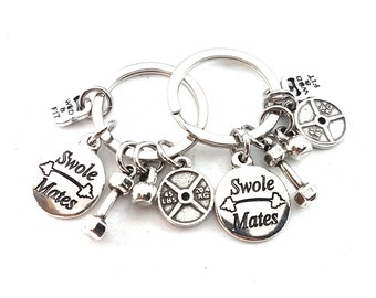 Couple Keychain Swole Mates,Dumbbell,Weight Plate.Custumize Motivational Word,BFF Gift,Fitness,Gym Friends,Best Friends Gift,SwoleMates Gift
