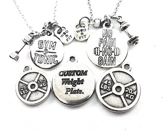 Couple Weightlifting Necklaces Custom Weight Plate 25lbs/45lbs.Fitness,Bodybuilding,Custom Gift,Personalize Necklace,Engraved Necklace,Gym