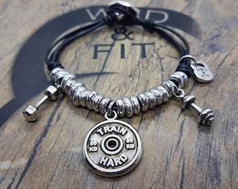 Bracelet Adonis Workout FitPlate 50kg Motivational word,Bodybuilding Gift,Fitness Jewelry,Crosstraining Gift,Coach Gift,Fitness Girl,Wod&Fit