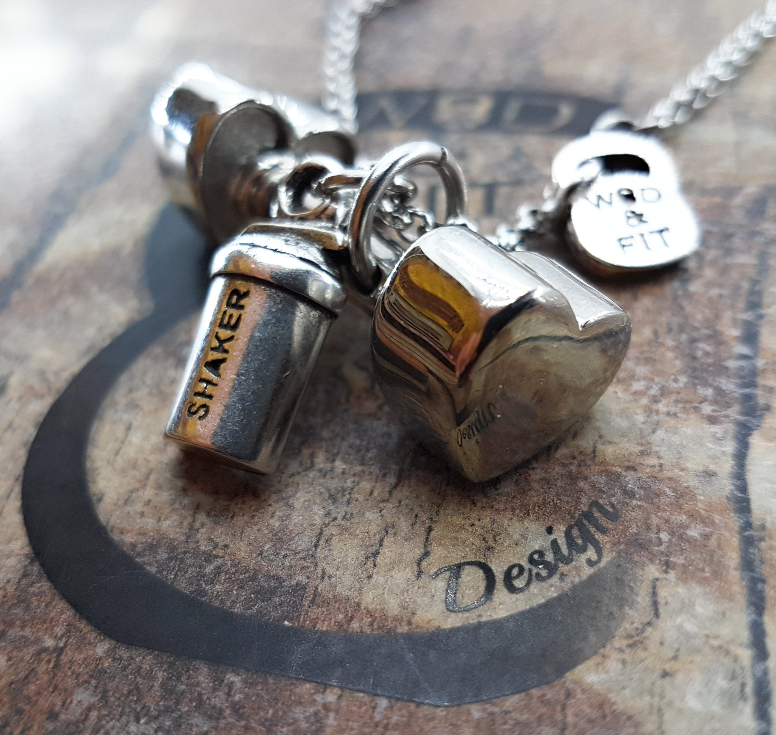 I Love Fitness Heart Dumbbell Necklace Y Motivational