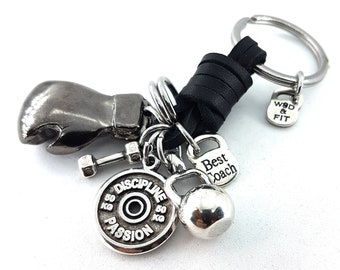 Boxing Glove BLACK Leather Keychain Boxing Challenge,Motivation - Dumbbell -Initial -Boxing Glove - Boxing jewelry - Boxing Gift - UFC - MMA