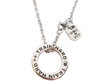 Circle necklace Custom Motivation - Gym Gift - Motivational Necklace - BFF Necklace- Circle Pendant -custom name -message jewelry -Wod & Fit