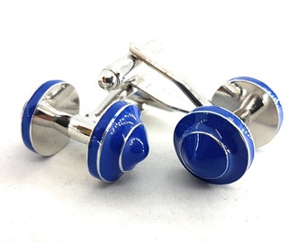 Blue Dumbbell Cufflinks.Coach Gift,Motivational,Bodybuilding Jewelry,Gym Gift,Dad Gift,Father Gift,Barbell Cufflink,Wedding Coach,Crossfit