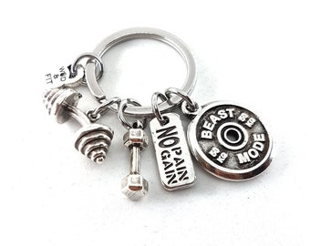 Gym Keyring Cluster Workout Gift Motivation Gift - Fitness Gifts - Bodybuilding - Power lifting - Custom Gift - Name Gift -Sport  Wod & Fit