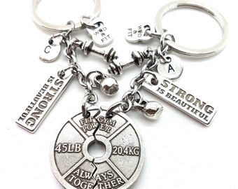 Gym Couple gift Keychain Always Together - Weight Plate - Strong is Beautiful - Fitness Gift- Cross Fit Gift -Body Building Lovers -Gym Gift