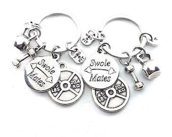 Couple Keychain Swole Mates  & Weight Plate 45lbs+45lbs Initial.BFF Gift,Kettlebell,Fitness,Crossfit,Couples Best Friends Gift,Wod Partner