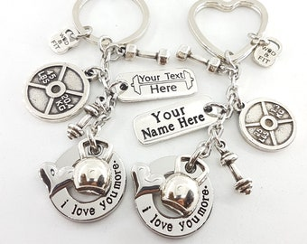 Custom Couple Keychain I Love You More Kettlebell Weight Plate 25lbs y 45lbs Bodybuilding - Custom Keychain - Fitness - Gym - Crossfit Gift