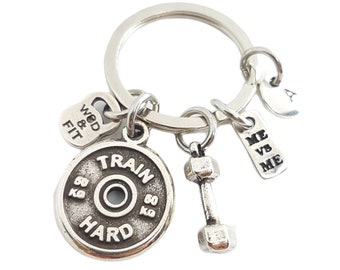 Gym Gift Key ring Me vs Me Weight Plate - Initial Keychain- Sport Gift - Bodybuilding- Weight lifter -Workout Gift- Crossfit Gift -Wod & Fit