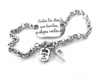 Motivational Bracelet Todos Los Dias Son Bonitos,Si  Eliges Verlos Así All Days Are Beautiful,If You Choose To See Them So Initial,Fitness
