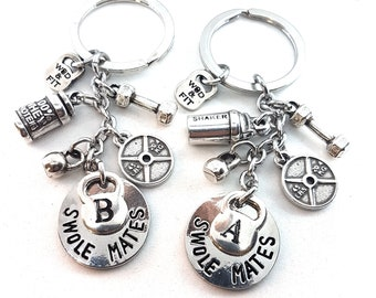 Couple Keychain Swole Mates Shaker & 100% Whey Workout,Weight,Dumbbell,Fitness Jewelry,Crossfit Gift,Gym Gift,Couples Gift,Bodybuilding Gift