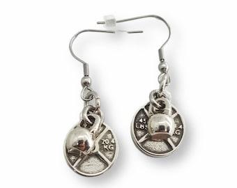 Gym Earrings Weight Plate Small 45lbs & Kettlebell Earrings - Fitness - WeightLifting - Barbell - Crossfit Girl Earrings - Bodybuilding Gift