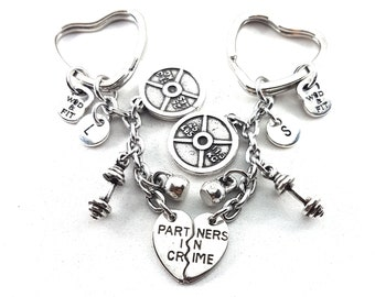Couple gift Gym Keychain Partners in Crime Weight Plate 25lbs - Workout Gift- BBF - Gym Time - Sisters Gift - Gym - Cross fit - Gym life