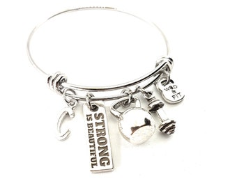 Bracelet Fitness Betty Workout Kettlebell,Dumbbell, Motivation & Initial.Gym Gifts,Bodybuilding,Coach Gift,Fitmom,Workout Jewelry,Crossfit