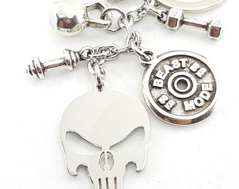 Motivational Gift Skull Punisher Keychain - Trainer Gift - Gym Gift - Skull Gift - Skull Keychain - Powerlifter - No Fear - Wod & Fit