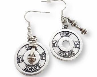 Gym Earrings Lift Heavy Weight Plate 45lbs & Barbell - Pendientes Fitness - Weight Lifting - Barbell Earrings - Crossfit Girl - Bodybuilding