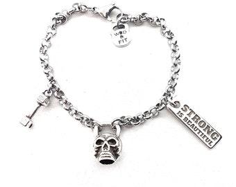 Bracelet Kettlebell Skull Mortal Workout. Bodybuilding Bracelet- Skull Lovers -  Crossfit Girl Gift - Motivational Quote Gift - Gym Bracelet