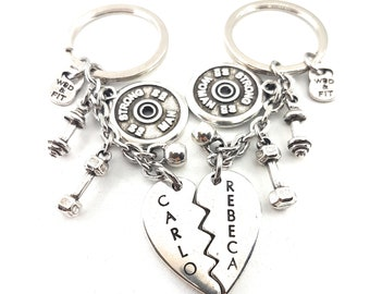 Custom Broken Heart Couple Keychain - Gym Gifts- Bodybuilding- BoyFriends gift - Fitness Jewels - Crossfit Gift- Personalized Love Keychain