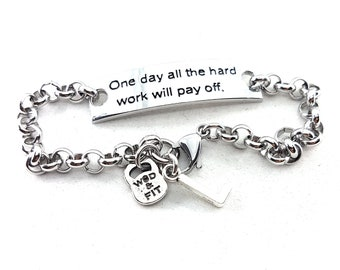 Motivational Bracelet Fitness One day all the hard work will pay & Initial leter.Fitness Jewelry,Fitmom,Fit Girl,Gym Gift,Gym motivation,Wod