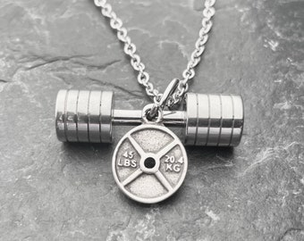 Gym Necklace Strongman Small Workout Gifts - Barbell - Power Lifting - Bodybuilding - Gym Gifts - Weight Lifting - Exercise Gift - Wod & Fit
