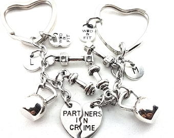 Partners in Crime set 2 Kychain Kettlebell Workout Gift - Gym Gift - Friend gift- Motivational gifts - couple gift - bff gift - Wod & Fit