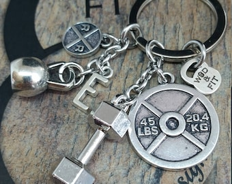 Gym Keychain Motivation Workout Gift - Exercise Gift - Initial Gift - Body Building - Motivation Gift - Fitness Gift - Coach Gift -Wod & Fit