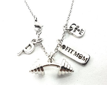 Necklace Bent Barbell Motivation & Initial Letter.Barbell Jewelry,Bodybuilding,Workout Jewelry,Coach Gift,Fitness Gift,Gym Gifts,Crosstrain