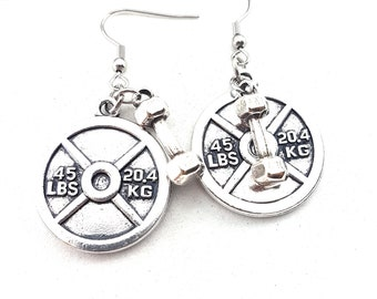 Earrings Weight Plate & Dumbbell Hex Workout,Fitness Weight Lifting Kettlebell,Gym,Bodybuilding,Dumbbell,Fitmom,Fitgirl,Fitness Jewelry,Wod