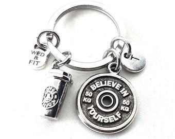 Keyringn Coffee & Motivational FitPlate Initial letter Workout - Fitness Jewels  - Bodybuilding Gift - Crossfit- Coffee lover - Fitness Girl