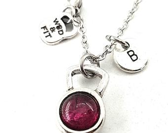 Necklace Kettlebell Color & Initial Letter.Bodybuilding Jewels - Fitness -FitGirl - Crosstraining -Fitmom - Crossfit Girl-Kettlebell Pendant