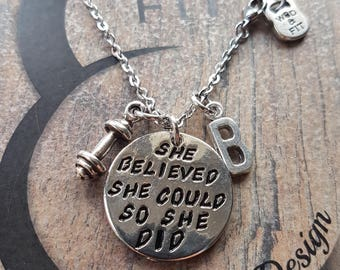 Bracelet Motivation She Believed She Could So She Did.Dumbbell & Initial letter.Motivation Gift,Fitness Jewels,Gym,Bodybuilding,Women gift