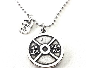 Necklace Weight Plate Fitness Workout,Bodybuilding,Personalized,Sport Weight lifting Jewelry Gym,Fit Mom,Fitness Jewelry,Fit Girl,Wod,Crossf