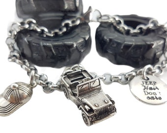 Bracelet Willys Jeep 4x4 off-road Cap & Your Motivation OIIIIIIO- Wrangler -Off Road Lovers- 4x4 Gifts For Her- Jeep Girl Gift - Rubicon- JK