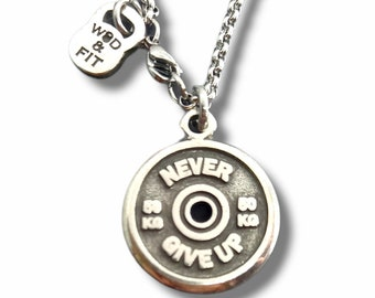 Gym Motivation Necklace Weight Plate Exercise Gift - Gym Gifts - Bodybuilding - Weight Lifting - Fitness Gift - Gym Trainer -Sport Wod & Fit