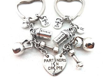 Set 2 Partners in Crime Shaker Keychain - Workout Gift - Body building - gift for BFF - Gym Gift - Fit Mom -Couple Gift -Fit Girl -Wod & Fit