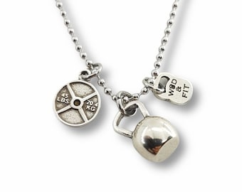 Gym Necklace Kettlebell & Small Weight - Fitness Gifts - Gym gifts- Bodybuilding - Fitness lover gifts - Crossfit Gifts - Gym motivation
