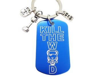 Gym Custom Keyring Kill The Wod Man Skull Dumbbell & Me vs Me -Workout Gift - Body building- Fitness Gift-Gym Gift -Custom Name -Wod and Fit