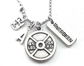 Necklace Jackie Workout Weight Plate 45lbs,Initial & Motivation Gift Fitness,Bodybuilding Jewelry,Coach gift,Fitmom,Weightlifter,Crossfit