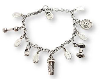 Iron and Coffee Bracelet- Gift Bodybuilding - Custom Bracelet - Custom Fitness Bracelet - Crossfit Bracelet - Gym Lovers- Coffee Lovers Gift