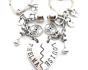 Gym Girl Gift Couple Keychain Thelma and Louise - BFF - Fitness Girl - Crossfit girl Gift - Gift for bff - Best sister gift - Sibling gift