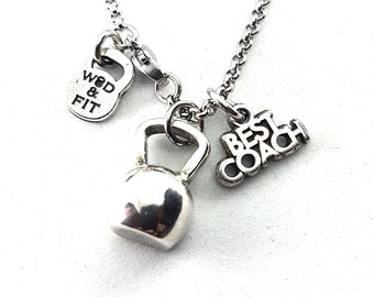 Necklace Kettlebell Half Get Up Workout Bodybuilding Jewelry Fitness,Motivational quote,Cross Training gift,No pain No Gain,Coach Gift W&F