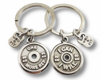Gym Keychain Motivational Weigth Plate Gift for Bodybuilding Coach- Fitness Lovers - Gym Gift  - CrossFit Gift - Weightlifting - Wod and Fit