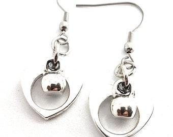 Earrings Kettlebell Heart I Love Kettlebell - Earrings Woman Gift, Kettlebell Earrings - Fitness Gift - Crossfit Girl - Sport Earrings