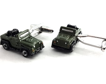 Cufflinks Offroad 4x4 Green Wrangler -Accessories Offroad Gift - 4x4 Gifts For Her -  Wrangler - Rubicon - Wedding- Off Road - Willy- JK -JL