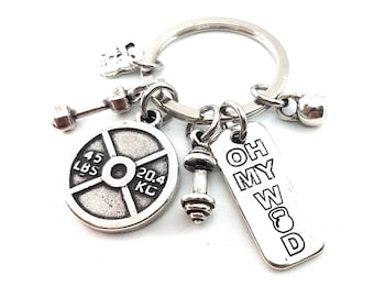 Gym Custom Key Ring Bodybuilding Male Exercises 45lbs. Name Gift - Fitness - Gym gifs - Crossfit gift - Weight lifting Gift - Gym Wod & Fit