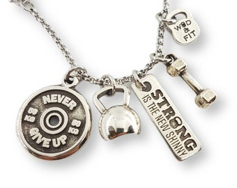 Necklace Kettlebell,Dumbbell,FitPlate & Motivation Beast 12 Workout - Gym Gifts -Bodybuilding -Coach gift - Crossfit Gift - Crossfit Girl